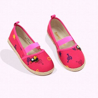 Ramie Cotton fabric Mary Janes shoes – Fuschia - The sound of the mosquito.