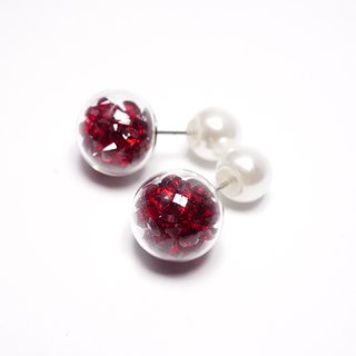 A Handmade crystal around the red glass balls with pearl earrings