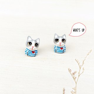 Cool cat wearing blue striped shirt earrings, Cat Stud Earrings, cat lover gifts