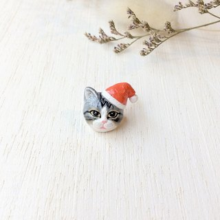 Santa Cat Brooch, Santa Cat pin, Christmas gifts