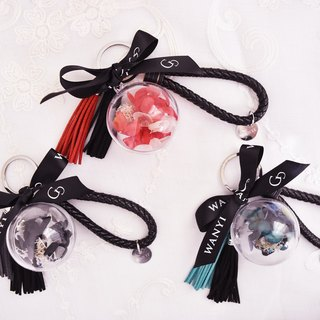 No flower key ring (texture black) Dry flower / beauty and the beast / gifts / charms / wedding small things