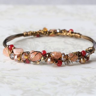 Sunstone wire wrapped bracelet - natural crystal bracelet - 18K gold plated wire