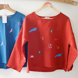 Red bubble cotton hand-printed dog blouse