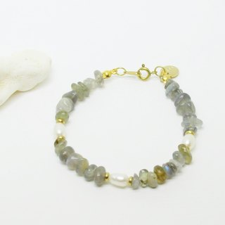 ► [eternal] natural pearl x labradorite hand on the brass letters bracelet light jewelry Mother's Day Valentine's Day birthday anniversary banquet party to exchange gifts for Christmas