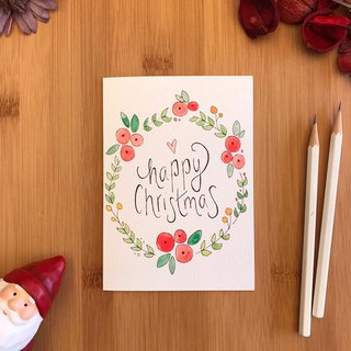 HAPPY CHRISTMAS WREATH Christmas card hand-painted illustration of imported green paper C041