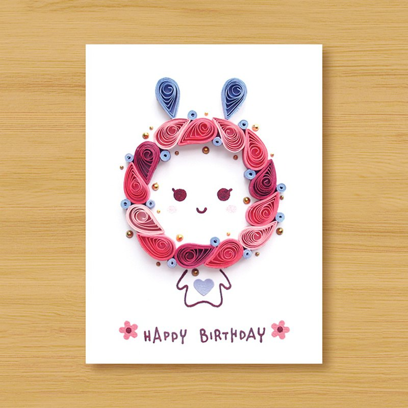 Handmade Roll Paper Card _ Blessing Rabbit _ Powder      Birthday Card,  Thank You Card, Valentine Card