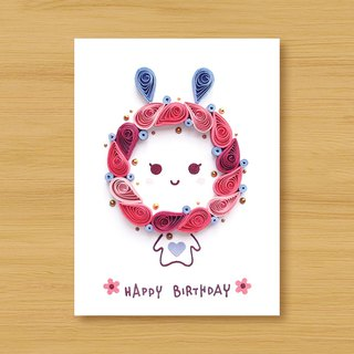 Hand roll paper card _ blessing rabbit _ powder ..... birthday card, thank you card, lover card