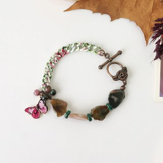 Natural Tourmaline Raw Stone Bracelet with Butterfly Charm, October Birthstone