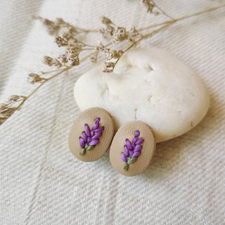 Genuine leather earring/ ear clip with embroidery lavender
