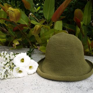 Mama の hand-made hat - handmade cotton rope crocheted hat / wide-brimmed hat - olive green / gifts / hiking / Mother's Day