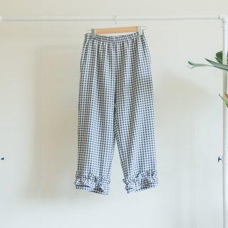 Seaweed Checkered Lotus Wide Pants