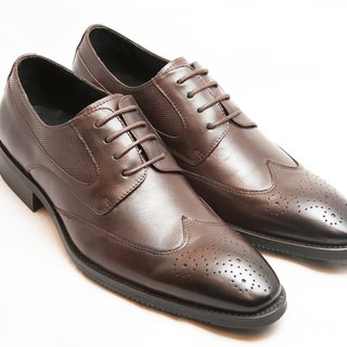 Hand-painted calfskin leather wood with wing-wing carved Derby shoes - brown - free shipping - D1A62-89