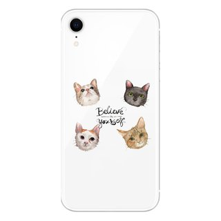 Four cat head stickers - mobile phone case / anti-drop / air pressure shell / customizable handwriting + plus words