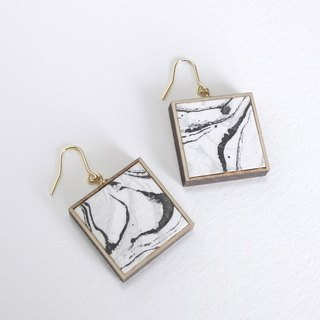 Marble pattern copper prints and wooden earrings Black