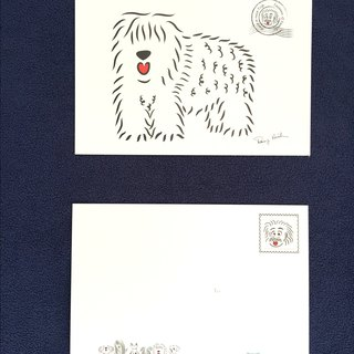 Q Family Postcard Mao children - Old English Sheepdog