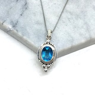 Blue Topaz 925 sterling silver exotic elegant style necklace handmade inlaid in Nepal