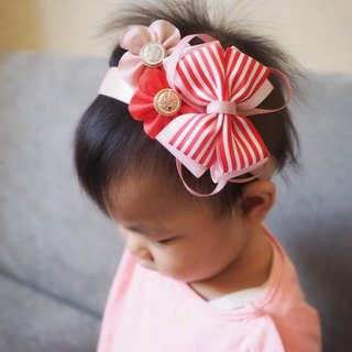Red stripe ribbon bow handmade baby headband and hair clip set