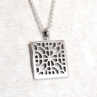 Window Fireplace Window (Large) 925 Silver Chain Necklace -ART64