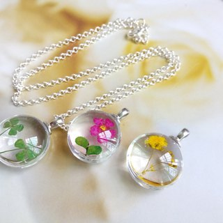 Pressed flowers jewelry resin necklace silver chain, pressed flower pendant