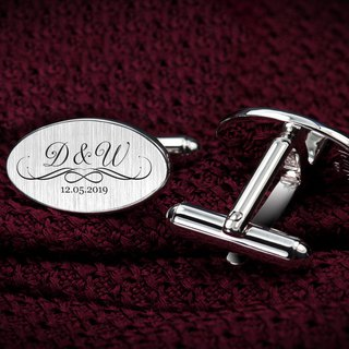 Wedding Cufflinks - Personalized Cufflinks engraved with initials and date