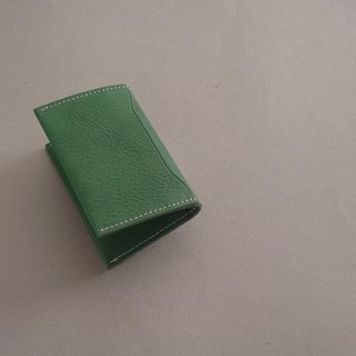 """RENÉE"" Folding Business Business Card Holder Tanning Carving Leather / Vegetable Tanning / Vegetable Tanning Wood Green"