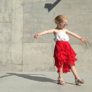 Girls Summer Party Skirt in Ferrari Red 5 - 8 Years