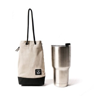 Point bag [icleaXbag] beverage bag simple drink accompanying bag can be engraved beige