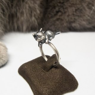 "Cute Smiling Silver Cat Ring Cat Lover Gift For Her Mom Memorial Cat Loss Birthday Christmas Animal Jewelry ""Naughty Cat"" by IONA SILVER"