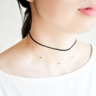 Target achievement talent blooming Black spinel choker wind two-tone necklace