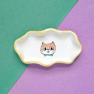 Cat wave porcelain plate