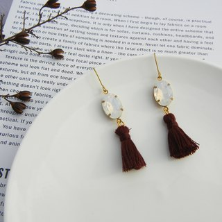 *coucoubird*coffee red tassel gemstone earrings