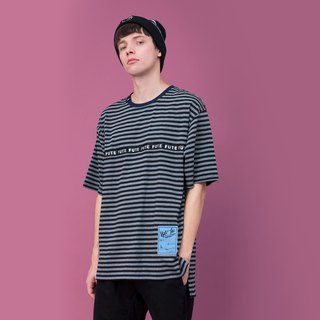 REFLECTIVE STRIPE ROUND NECK STRIPED T SHIRT