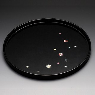 80 cherry blossom lacquer discs (inlaid shell - black)