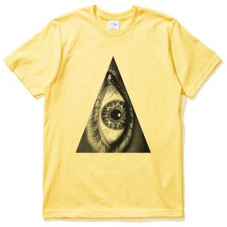 Triangle Eye unisex short-sleeved T-shirt yellow triangle eye geometry design own brand fashion circle bright justice