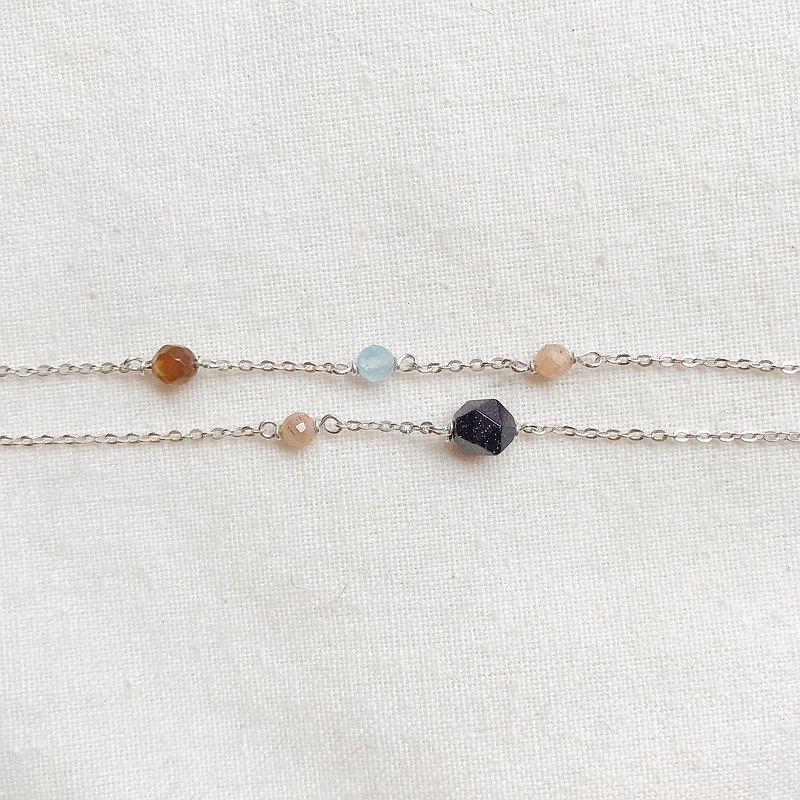 手圍訂製 純銀手鍊 天然石雙鍊 幸運手環 太陽系的浪漫 閨蜜手鍊