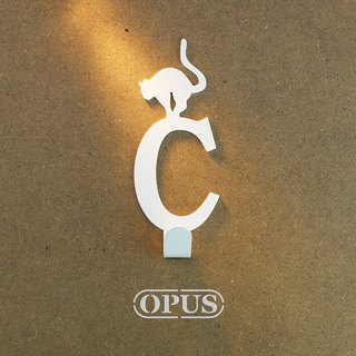 [OPUS Dongqi Metalworking] When the cat encounters the letter C - hook (elegant white) / wall hanging hook / no trace