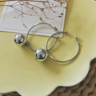 Marygo ﹝ gap big ball ﹞ integrated silver earrings