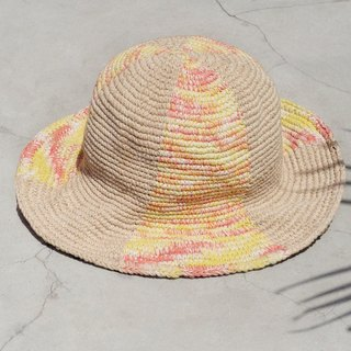 Valentine's Day gift limited to a knitted cotton / hat / hat / fisherman hat / sun hat / straw hat - watercolor color color sunset sunset colorful hand-woven hat