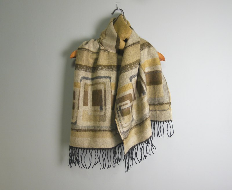FOAK vintage shepherd earth color geometric scarf