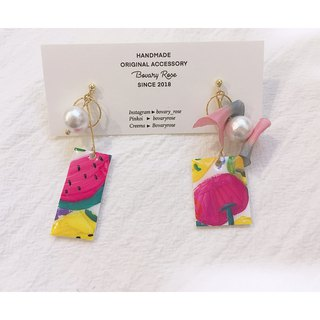 Summer hand-painted fruit plate series watermelon strawberry red pass hand-painted ear pin ear clip earrings