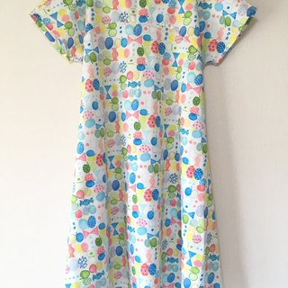 Watercolor ribbon and butterfly Simple flare One piece Sky blue
