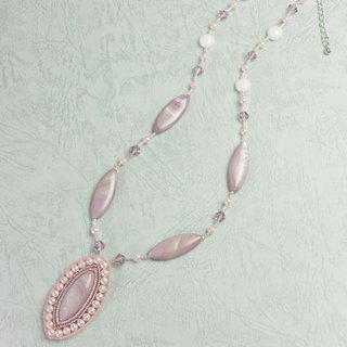 Shell necklace, pink mother of pearl elegant necklace, swarovski pearls, MOP, gift for her, 1409