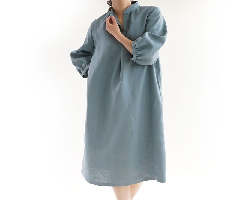 Linen stand collar Fluffy sleeve dress / Veil pasteille a18-5