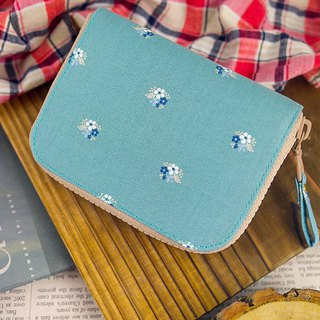 Blue and green. Floral. Cloth clip / wallet / wallet / coin purse