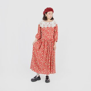 [Egg plant ancient] flower tea sundae Seiko cloth lace vintage dress