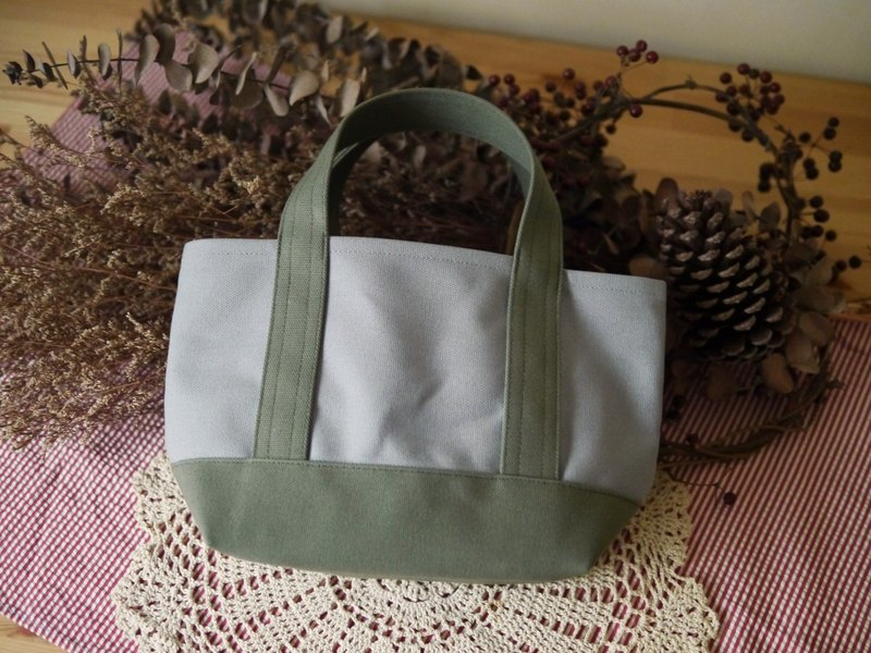 Classic Tote Ssize gray x olive - Gray x Olive Green -