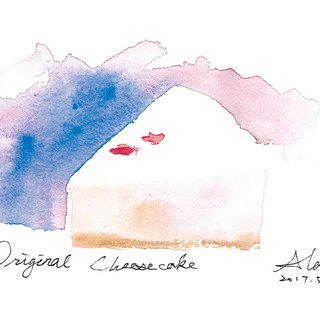Hand painted printed postcards Original Cheesecake classic cheese cake