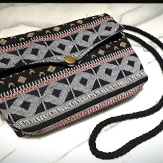 AMIN'S SHINY WORLD hand-painted gray ethnic totem seagull cover copper shoulder bag