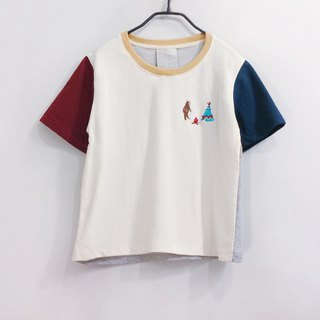 camping with a bear embroidery crop top