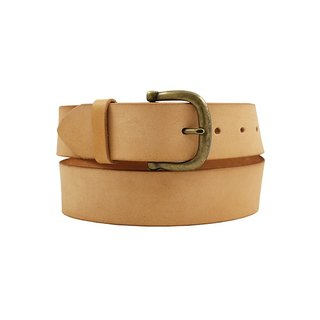 FULLGRAIN │ Italian vegetable tanned leather leather belt 4cm - bright copper horseshoe buckle